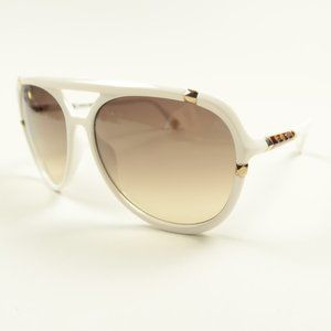 MK Jemma White Aviator Brown Lens Sunglasses